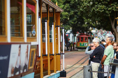 SAN FRANCISCO - OCTOBER 17: Passangers waiting for a famous cable car October 17, 2015 in San Francisco, USA Stock Photography