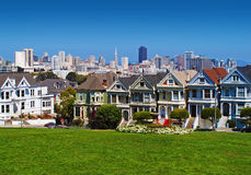 San Francisco Painted Ladies Arkivfoton