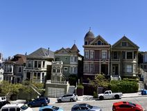 San Francisco Painted Ladies. This is a Spring picture of the iconic Painted Ladies located on Steiner Street in the Alamo Square neighborhood of San Francisco royalty free stock photography
