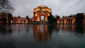 San Francisco Palace of Fine Arts at Dusk stock footage