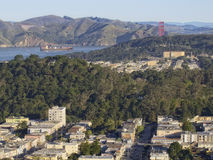 San Francisco Pano with Freighter Stock Image