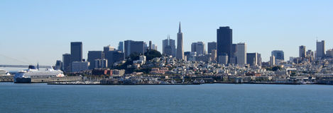 San Francisco Panorama. On a beautiful day.  Bay Bridge, cruise ships, Coit Tower, and downtown can all be seen Royalty Free Stock Photos