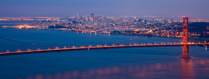 San Francisco Panorama. Golden Gate bridge and San Francisco skyline at night seen from Marina Headlands, California Royalty Free Stock Image