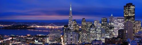 San Francisco - panorama 2 de la noche Fotografía de archivo libre de regalías