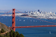 San Francisco Panorama w the Golden Gate bridge Stock Photography