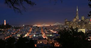 San Francisco Panoramic Sunset over Downtown stock footage