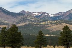San Francisco Peaks area near Flagstaff, Arizona, was the site of a massive 2010 wildfire; this photo shows the scene in 2018 Royalty Free Stock Photography