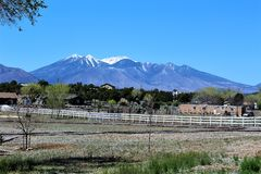 San Francisco Peaks. Mountain range in Flagstaff, Arizona with snow royalty free stock photo