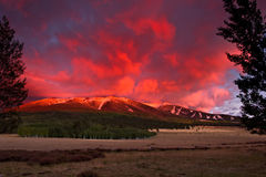 San Francisco Peaks at twilight Stock Photos