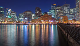 San Francisco from Pier 14. Panoramic night view of San Francisco skyline from Pier 14 Royalty Free Stock Photos