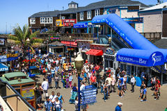 San Francisco Pier 39 Attractions. Pier 39 is located at the edge of famous Fisherman's Wharf and the Embarcadero along San Francisco's historic waterfront Stock Image