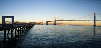 San Francisco Pier and Bay Bridge Panoramic Royalty Free Stock Photos