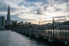 San Francisco, Pier 7, Sonnenuntergang Lizenzfreies Stockfoto