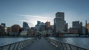 San Francisco, Pier 14, Sonnenuntergang Stockfotos