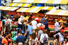 San Francisco Pier 39 Visitors at the Farmer's Market Fruit Stand Royalty Free Stock Photo