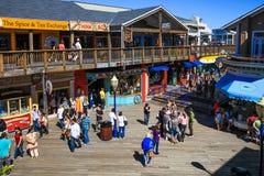 San Francisco Pier 39 Voedsel, Winkels, Pret stock afbeelding