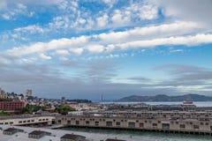 San Francisco Piers and Golden Gate. Bridge Royalty Free Stock Photos