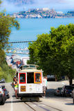 San Francisco Powell-Hyde Cable Car, Alcatraz fotografia stock libera da diritti