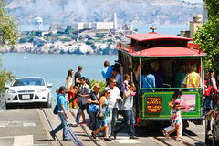 San Francisco Powell-Hyde Cable Car Passengers Stock Image