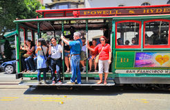 San Francisco Powell & Hyde Cable Car Passengers Stock Photos
