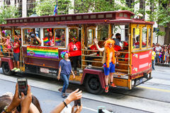 San Francisco Pride Parade Colorful Trolley Float Stock Images