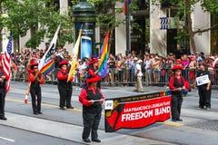 San Francisco Pride Parade Lesbian Gay Freedom musikband Arkivbild