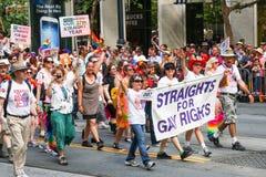 San Francisco Pride Parade Straights für Recht der Homosexuellens-Gruppe Stockfoto