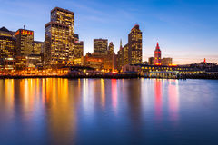 San Francisco in Red and Gold. San Francisco city skyline. Many buildings are illuminated with red and gold lights in honor of the 49ers making the NFL playoffs Royalty Free Stock Images