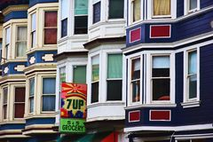 San Francisco Row Houses. San Francisco, USA - May 8,2016: Colorful row of houses on a hill at Grant Ave. in San Francisco, CA Stock Images