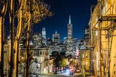 San Francisco`s financial district skyline. On a clear starry night, California stock photography