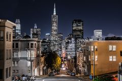 San Francisco`s financial district skyline. On a clear starry night, California stock image