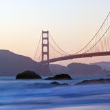San Francisco's Golden Gate Bridge at Dusk Stock Photo