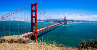 San Francisco`s Golden Gate Bridge. The Golden Gate Bridge spans the San Francisco Bay. This photo, taken from the Marin County side of the bridge, was taken on Royalty Free Stock Photos