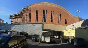 San Francisco`s historic National Guard Armory and arsenal, South side. Built in the Moorish castle style, the San Francisco Armory was built 1912-1914 as a Royalty Free Stock Images