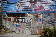 San Francisco`s world recognized Balmy Alley murals, 5. San Francisco`s Mission District has the highest concentration of murals of any neighborhood in the city stock image