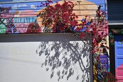 San Francisco`s world recognized Balmy Alley murals, 18. San Francisco`s Mission District has the highest concentration of murals of any neighborhood in the stock images