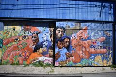 San Francisco`s world recognized Balmy Alley murals, 37. stock photography