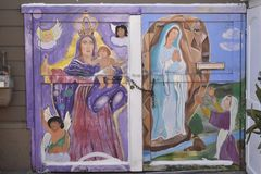 San Francisco`s world recognized Balmy Alley murals, 7. San Francisco`s Mission District has the highest concentration of murals of any neighborhood in the city royalty free stock photography