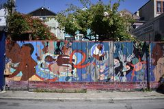 San Francisco`s world recognized Balmy Alley murals, 34. San Francisco`s Mission District has the highest concentration of murals of any neighborhood in the royalty free stock image