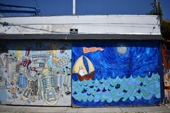 San Francisco`s world recognized Balmy Alley murals, 35. San Francisco`s Mission District has the highest concentration of murals of any neighborhood in the stock photos