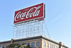 San Francisco`s new energy efficient Coca-Cola sign. Just one year after the Bay Bridge opened connecting San Francisco to Oakland, there has been a giant Coca royalty free stock photo