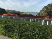 National Cemetery, Presidio San Francisco, peacefully overlooking the Golden Gate Bridge, 1. Stock Photography