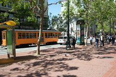 San Francisco's trolley. San Francisco's Market Street during the weekend with a trolly in the back Royalty Free Stock Image