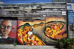 San Francisco`s world recognized Balmy Alley murals, 8. San Francisco`s Mission District has the highest concentration of murals of any neighborhood in the city stock image