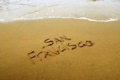 San Francisco in sabbia della spiaggia Fotografie Stock Libere da Diritti