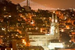 San Francisco Saints Peter y Paul Church en la noche Foto de archivo libre de regalías
