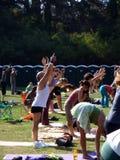 People doing Sun Salutations during yoga class outdoors