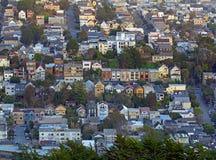 San Francisco sikt från tvilling- maximumkullar Arkivfoton