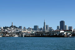 San Francisco Skyline. Captured from out on the San Francisco Bay royalty free stock image