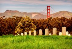 San Francisco Skyline. A view of the Golden Gate Bridge and the Cemetery with the Marin Headlands in the background Royalty Free Stock Photo